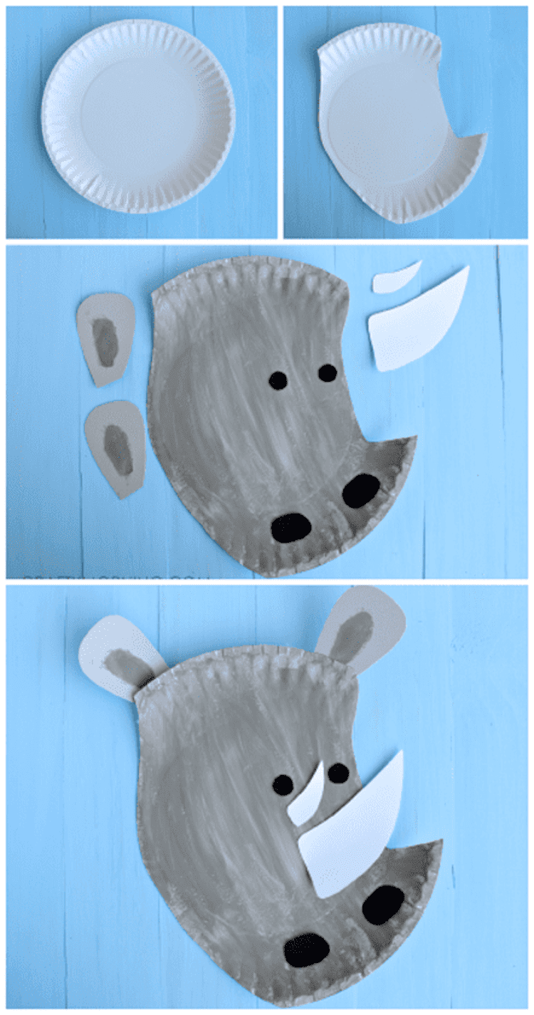paper plate craft grey rhino collage showing the steps to making the craft, on a blue background