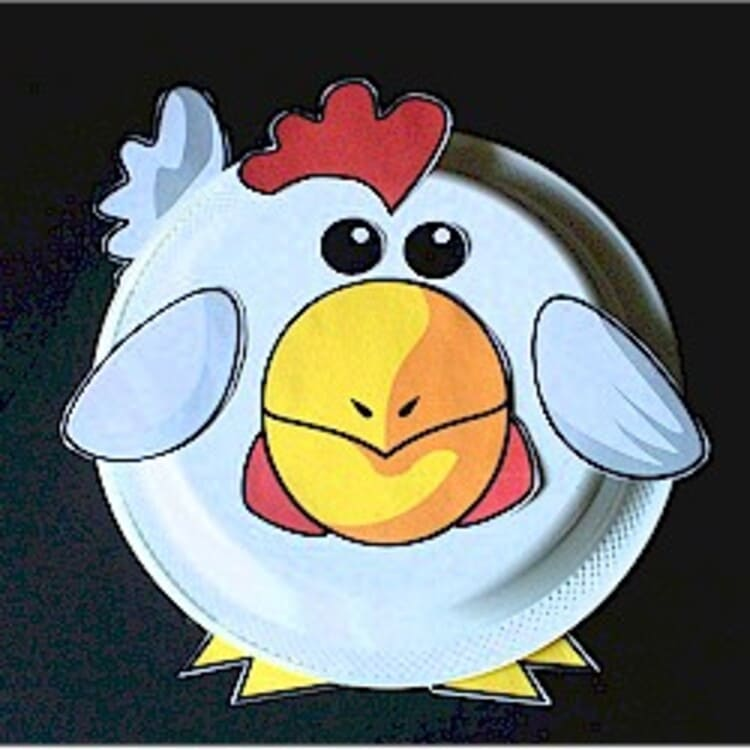 paper plate craft white rooster on a black background