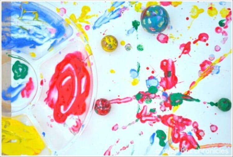 Creative sensory play - Art created by bouncing balls