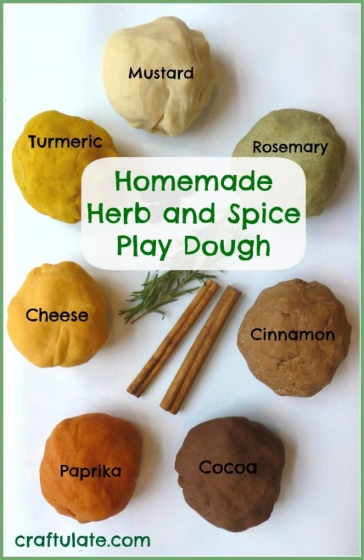 Homemade herb and spice dough - an image of differently spiced play doughs, from cinnamon to paprika to chocolate, etc