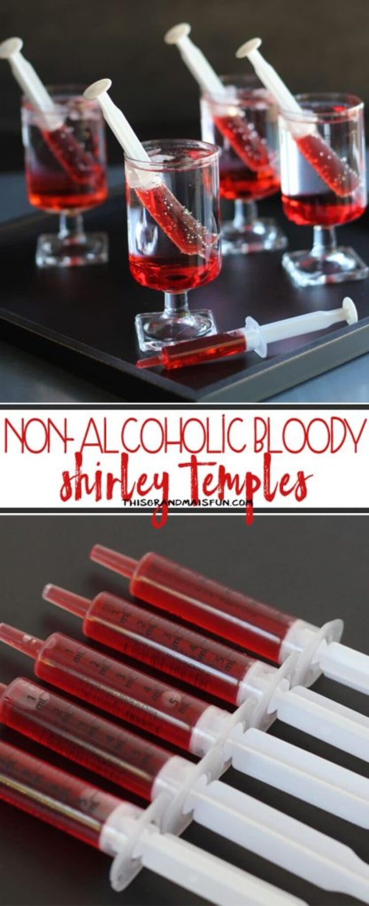 Collage photo of syringes with grenadine syrup in them