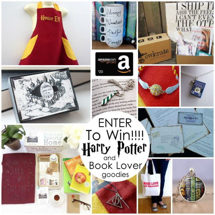 a harry potter inspired collage with different photos such as bags, notebooks, boxes and other book lover goodies