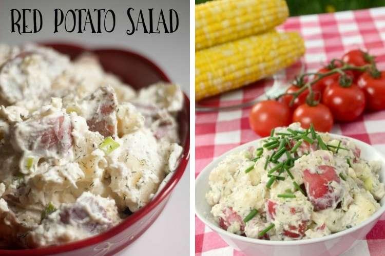 This Grandma Is Fun Red Potato Salad closeup of a bowl of potato salad photo collage