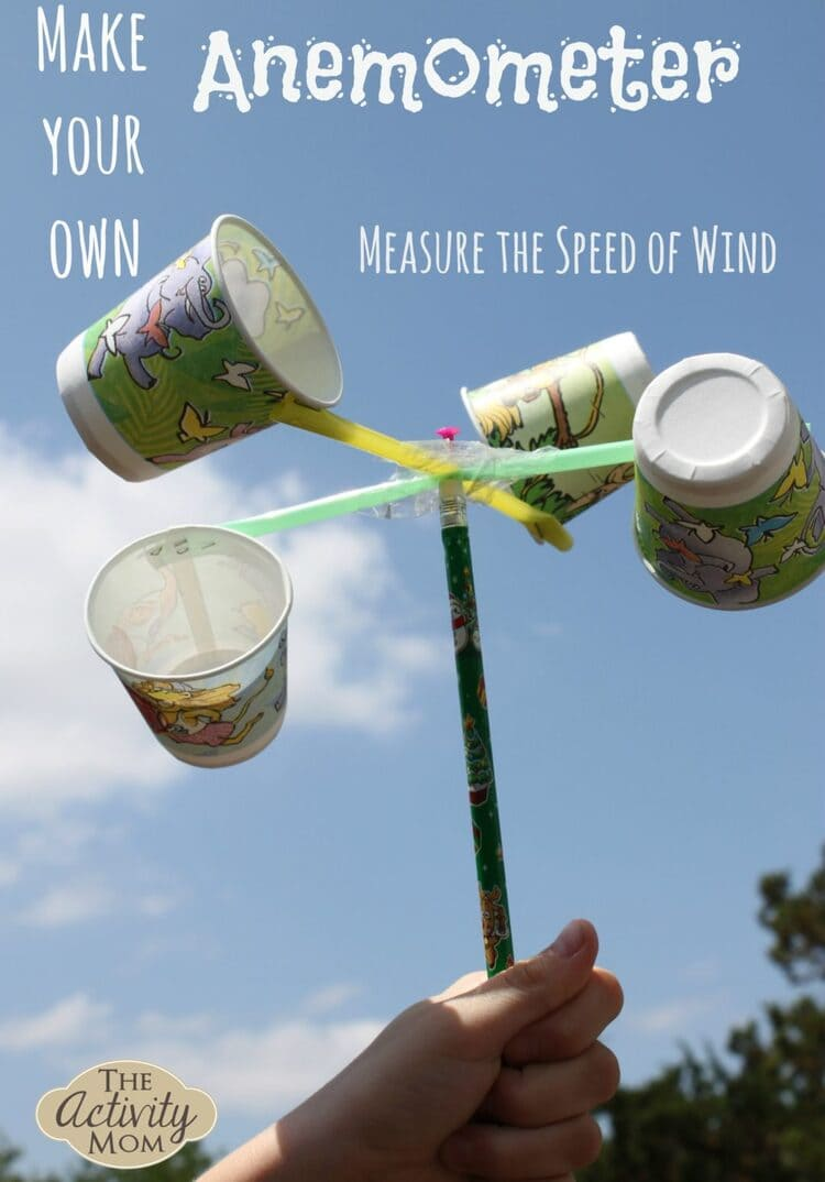 science project anemometer with colorful cups
